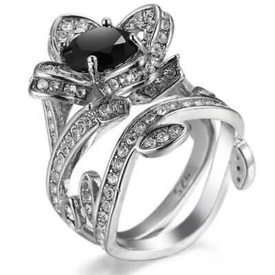 Vintage European FLower Shaped Black Onyx Zircon Silver Woman Ring Sz 6-12 - Onyx Flower Shaped Ring