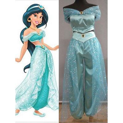 Jasmine Halloween Dress (Dress Pants Adult Aladdin Lamp Jasmine Princess Halloween Costume Party Cosplay)