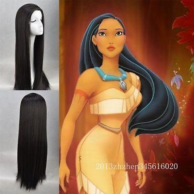 Pocahontas Wigs (Disney Movie Pocahontas Long Straight Black wig + free)