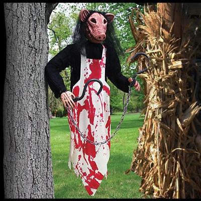 3 FT PIG BUTCHER SLAUGHTER HOUSE HANGING Outdoor Halloween Prop BLOOD YARD HAUNT - Halloween Yard Haunt