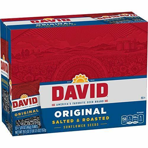 DAVID Roasted & Salted Original Sunflower Seeds, Keto Friendly 1.625 oz, 12 Pack