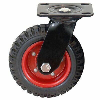 Powertec 17050 Swivel Heavy Duty Industrial Caster 6.25 Wheel Rubber Knobby