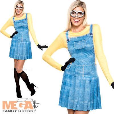 Minions Ladies Fancy Dress Despicable Me Movie Womens Minion Adults Costume 6-18 (Ladies Minion Costume)