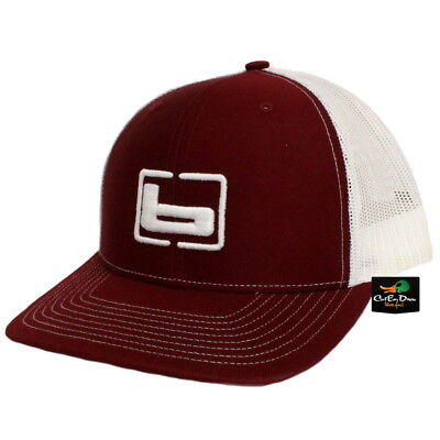 NEW BANDED TRUCKER CAP MESH BACK HAT CARDINAL AND WHITE W