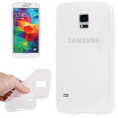 Samsung Galaxy S5 Mini G800 G800F - Housse silicone souple S - Blanc Transparent