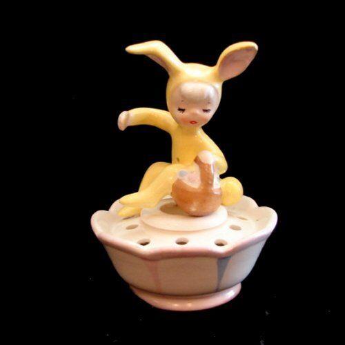 Vintage Bunny Rabbit Girl Cangle Hugger w Holder Holt Howard