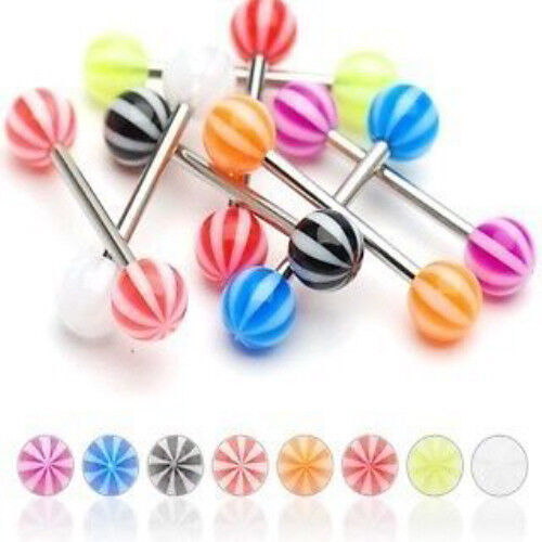 T#152 - 25pc Beach Ball UV Acrylic Tongue Rings 14g Tounge