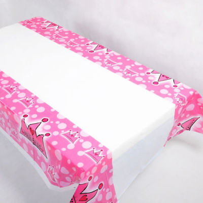 Pink Disposable Tablecloths (Plastic Disposable Tablecloth Pink Princess Table Cover Wedding Party)