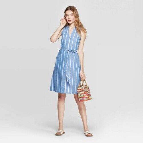 Women's Striped Sleeveless Collared Shirtdress – A New Day Blue L (NWT) Clothing, Shoes & Accessories