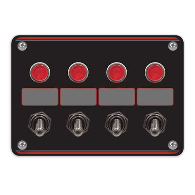 LONGACRE IGNITION SWITCH 4 ACCESSORY SWITCH PANEL WITH 4 PILOT LIGHTS