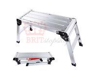 Enya Aluminium Platform Work Bench Safe Folding Stool Step Ladder 150Kg Hop UP