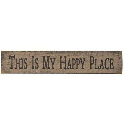 New Primitive Rustic Farmhouse Whitewashed THIS IS MY HAPPY PLACE Wood Sign (Happy Sign)