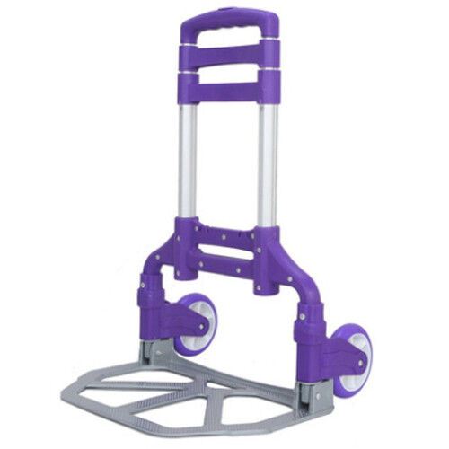 170lbs Folding Aluminium Cart Luggage Trolley Hand Truck Purple with Bungee Cord