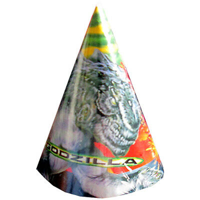 GODZILLA VINTAGE CONE HATS (8) ~ Birthday Party Supplies Favors Paper Rare Toho