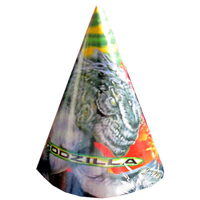 GODZILLA VINTAGE CONE HATS (8) ~ Birthday Party Supplies Favors Paper Rare Toho - Cone Hats