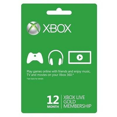 Xbox 360 One Live 12 Month Gold Membership Card Code Immediate Instant Delivery