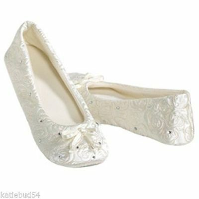 Bridal Satin Slippers (Isotoner Quilted WHITE Satin Wedding Slippers with Rhinestones soft Suede)