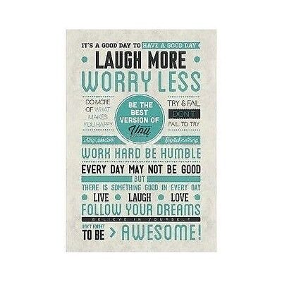 Laugh More Worry Less Motivational Poster Print Wall Art Be Awesome 24x36 Quote](Awesome Motivational Poster)