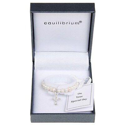 Equilibrium Fresh Water Pearl Baby Christening Bracelet DiamanteCross Gift 7080