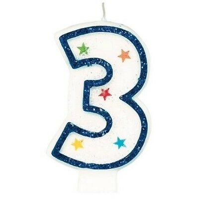 Amscan Blue Glitter Number Candle White Premium Birthday Cake Candle Party 1 2 3 - Number 2 Candle