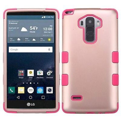 For Lg G Stylo G Vista 2 Rose Gold Pink Tuff Hard Silicone Hybrid Case Cover