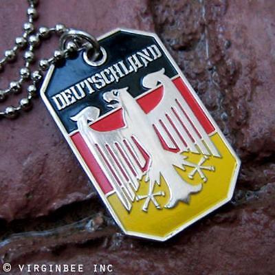 GERMANY EAGLE GERMAN FLAG DEUTSCHLAND BUNDESADLER PENDANT DOG TAG BALL CHAIN