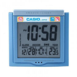 Casio DQ750F-2D Blue LED Light Digital Alarm Desk Clock Thermometer Snooze NEW