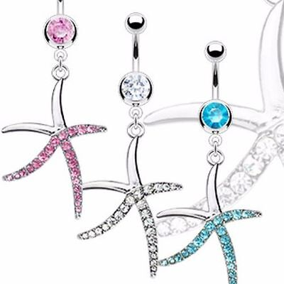 Seestern Pink (XXL Seestern Strass Piercing Bauchnabel Strass Bauchnabelpiercing Blau Pink)