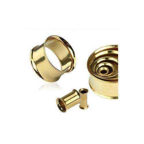 P#502 - 16pc Gold Double Flare Tunnels 00g,0g,2g,4g,6g,8g,10g,12g wholesale lot