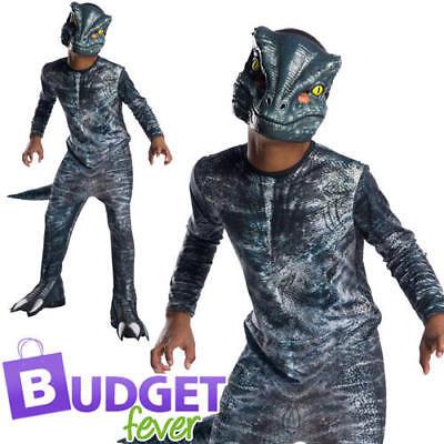 Blue Velociraptor Boys Fancy Dress Jurassic World Dinosaur Kid Halloween (Jurassic World Blue Kostüm)