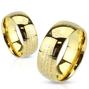 Stainless Steel Gold IP Lords Prayer Cross Mens Or Womens Wedding Band Ring