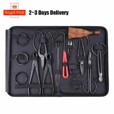 10PCS Bonsai Tool Kit Carbon Steel Cutter Scissors Trimming Brush with Case