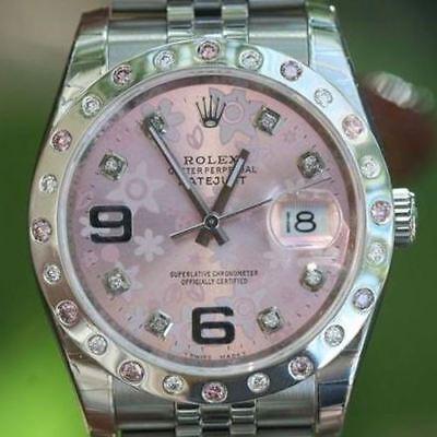 Rolex 36mm Datejust 116200 Steel Diamond Pink Sapphire Bezel for Floral 116244