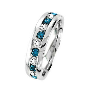 Mens Blue Diamond Wedding Band