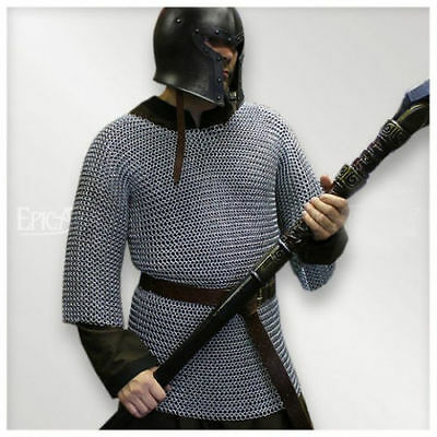 ALUMINIUM CHAINMAIL SHIRT BUTTED MEDIEVAL CHAIN MAIL HAUBERGEON ARMOR COSTUME