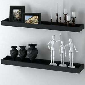 WOOD WALL SHELF FLOATING BLACK WITH HARDWARE