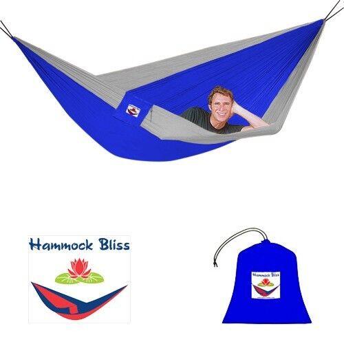 Hammock Bliss Triple Parachute Hammock, 3 Person, Blue/Silver
