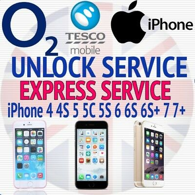 O2 TESCO UK Unlock Service For Apple iPhone 4/4s/5/5s/5c/6/6+/6s/6s+/7/7+