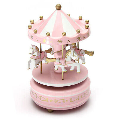 Musical carousel horse wooden carousel music box toy child baby pink game Z4T1 Baby Carousel Music Box