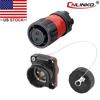 Cnlinko 2 Pin Power Connector Female Plug Male Socket Waterproof Outdoor Ip67