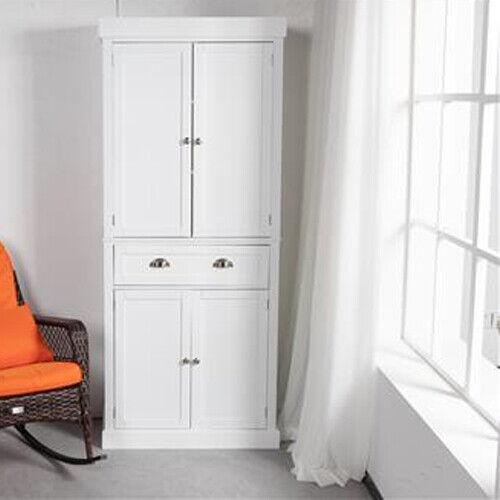 2-Door Tall Storage Cabinet Kitchen Pantry Cupboard Organizer Furniture White