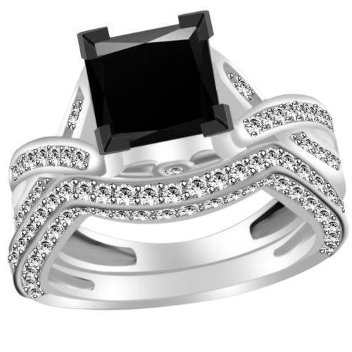 princess cut black diamond ring ebay. Black Bedroom Furniture Sets. Home Design Ideas