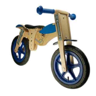 Bicicleta de Madera Sin Pedales Prebici Azul Moto Cross Carretera Juguete Niño