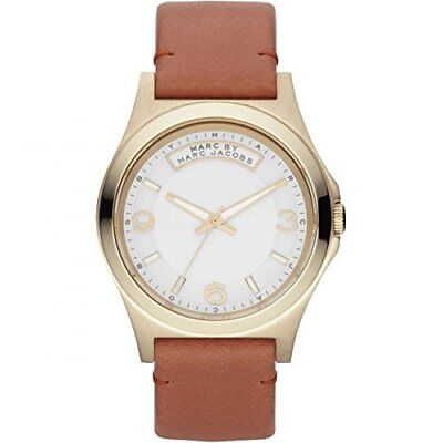 NEW Marc By Marc Jacobs Baby Dave Brown Leather Band Ladies Gold Watch MBM1261