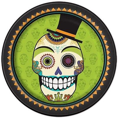 HALLOWEEN Day of the Dead LARGE PAPER PLATES (8) ~ Birthday Party Supplies Lunch](Day Of The Dead Birthday)