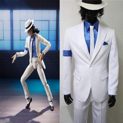 Michael Jackson Smooth Criminal Cos White Suit Uniform Men's Cosplay Costume HH](Smooth Criminal Costume)