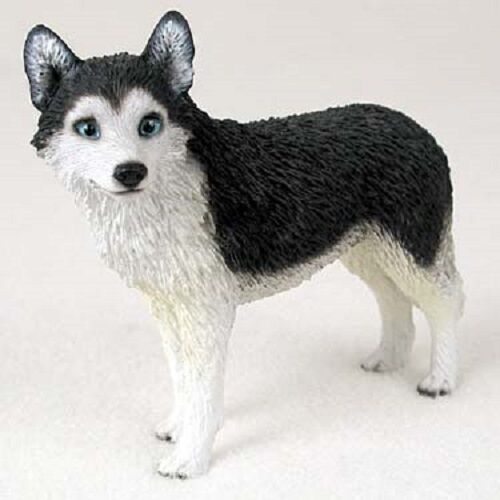 SIBERIAN HUSKY Dog FIGURINE Black White B&W resin puppy HAND PAINTED COLLECTIBLE