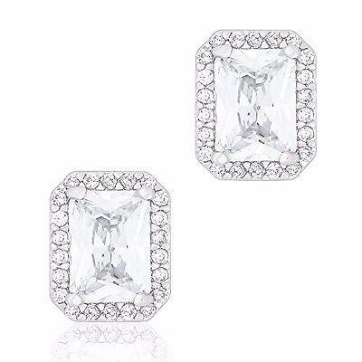 ORROUS & CO 18K White Gold Plated Cubic Zirconia Emerald Cut Halo Stud Earrings