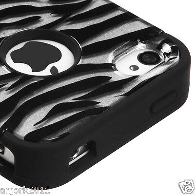 iPhone 4 4S Hybrid T Armor Snap-On Hard Case Skin Cover Silver Zebra 2D