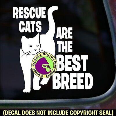 RESCUE CATS BEST BREED Vinyl Decal Sticker Kitty Cat Feline Car Window Wall Sign